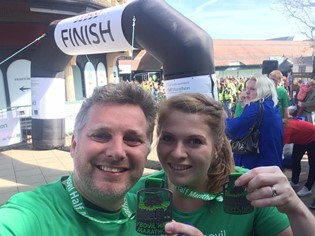 """""""He's got the running bug!"""" - Ben and I completing the Yeovil Half Marathon together – I was 8 weeks pregnant and rather pale!"""